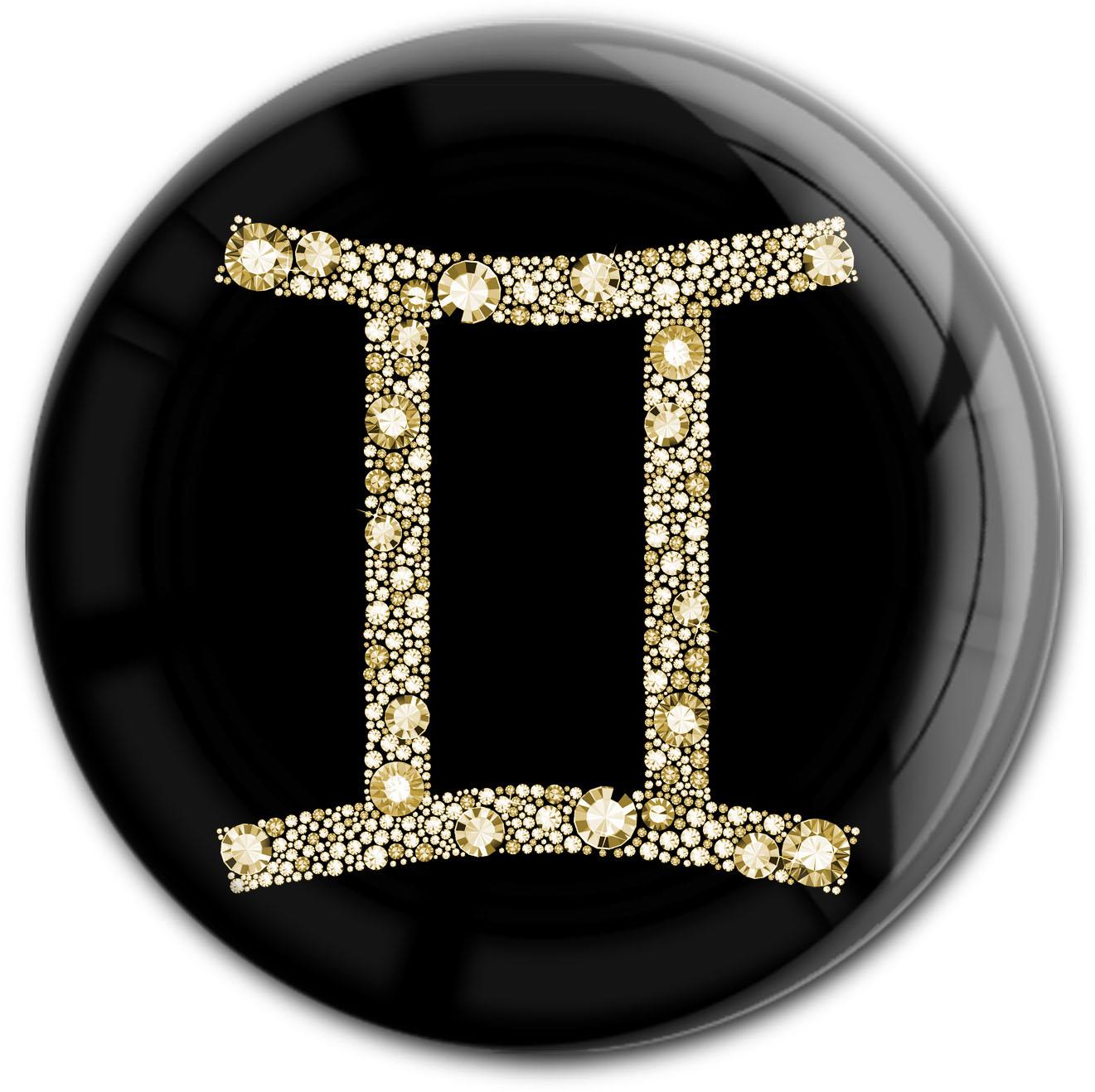 """metALUm Premium Magnet in runder Form """"Sternzeichen Zwilling in Gold"""""""