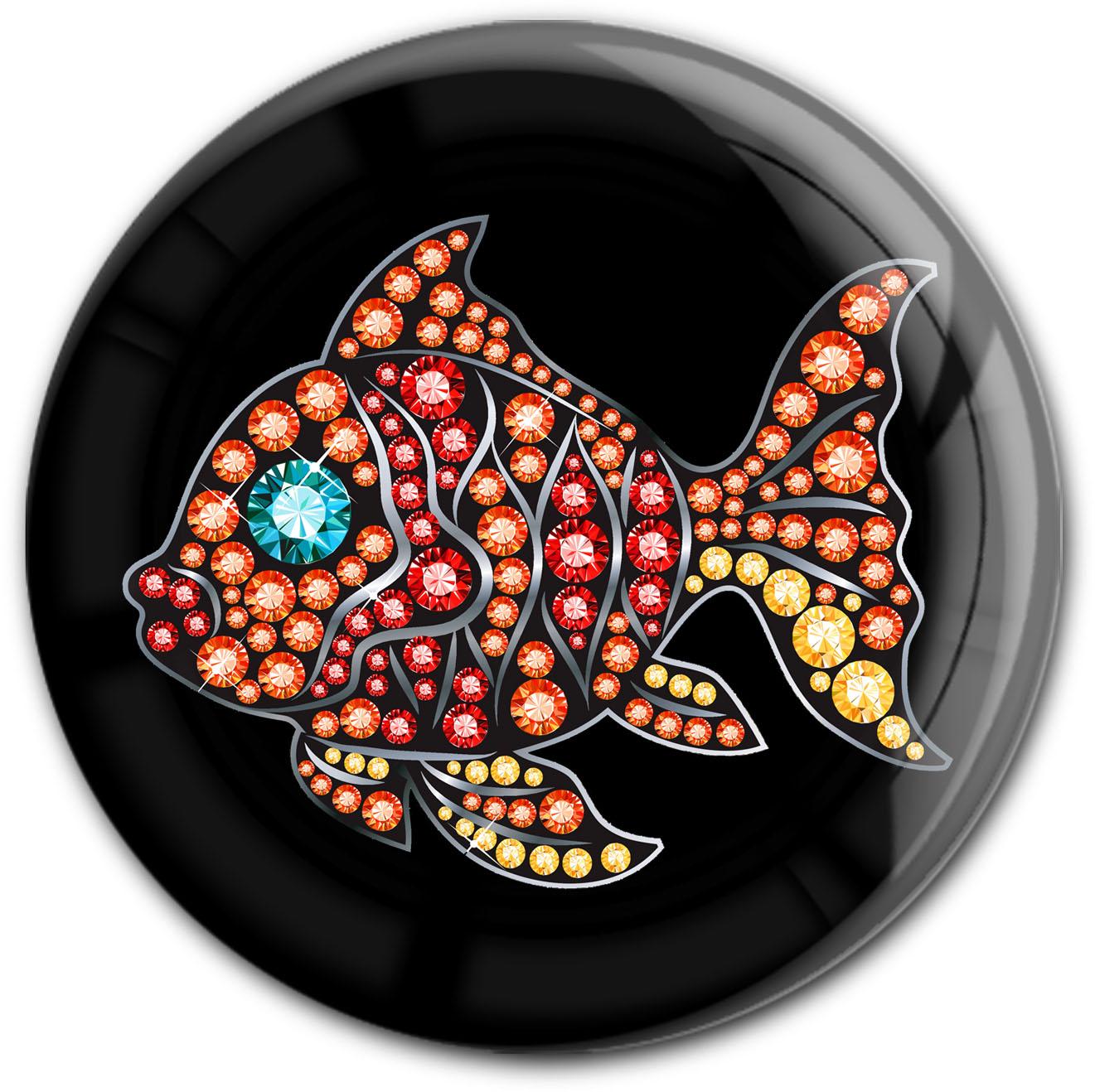 "metALUm Premium Magnet in runder Form ""Fisch"""