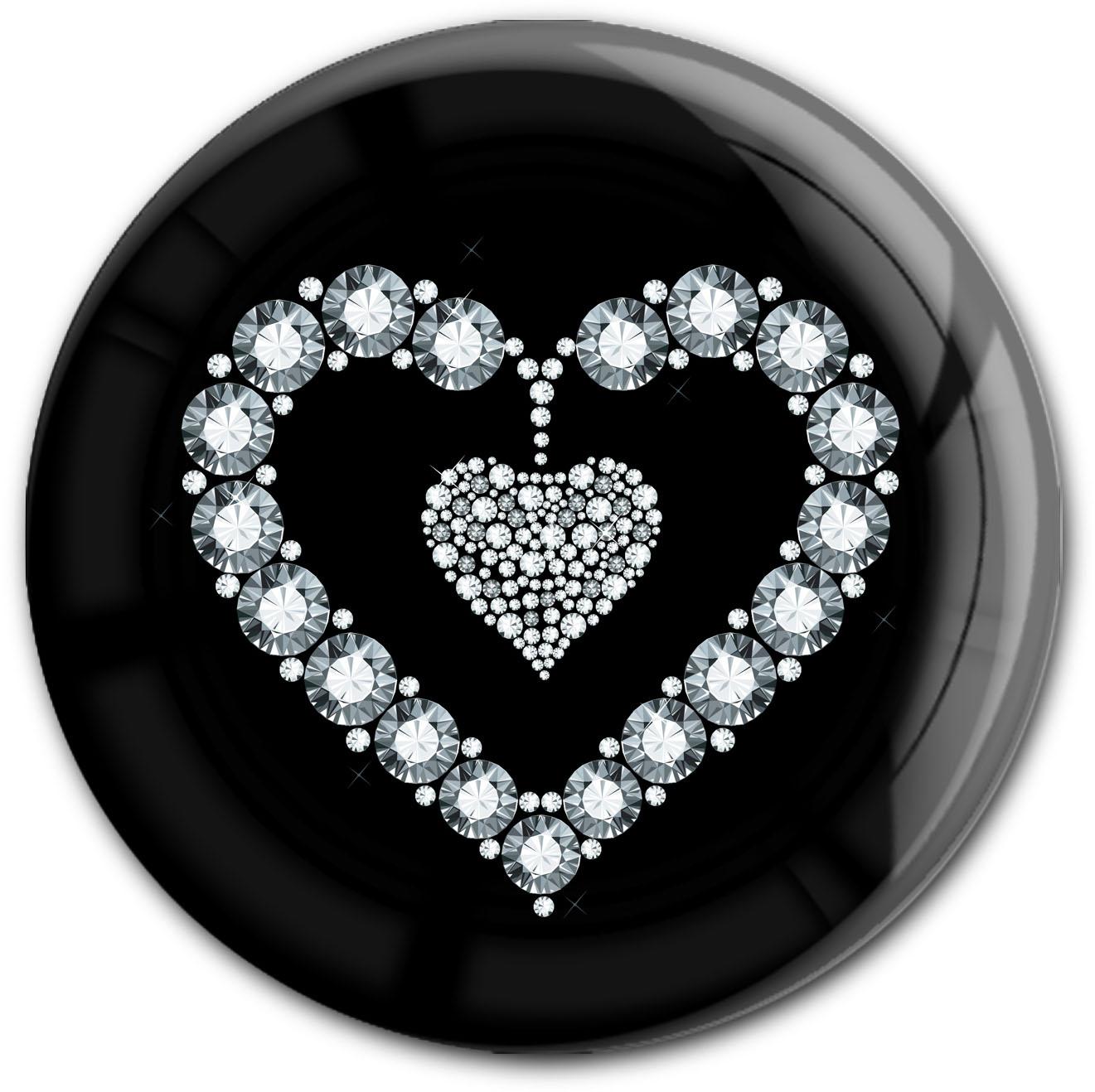 "metALUm Premium Magnet in runder Form ""Silbernes Herz"""
