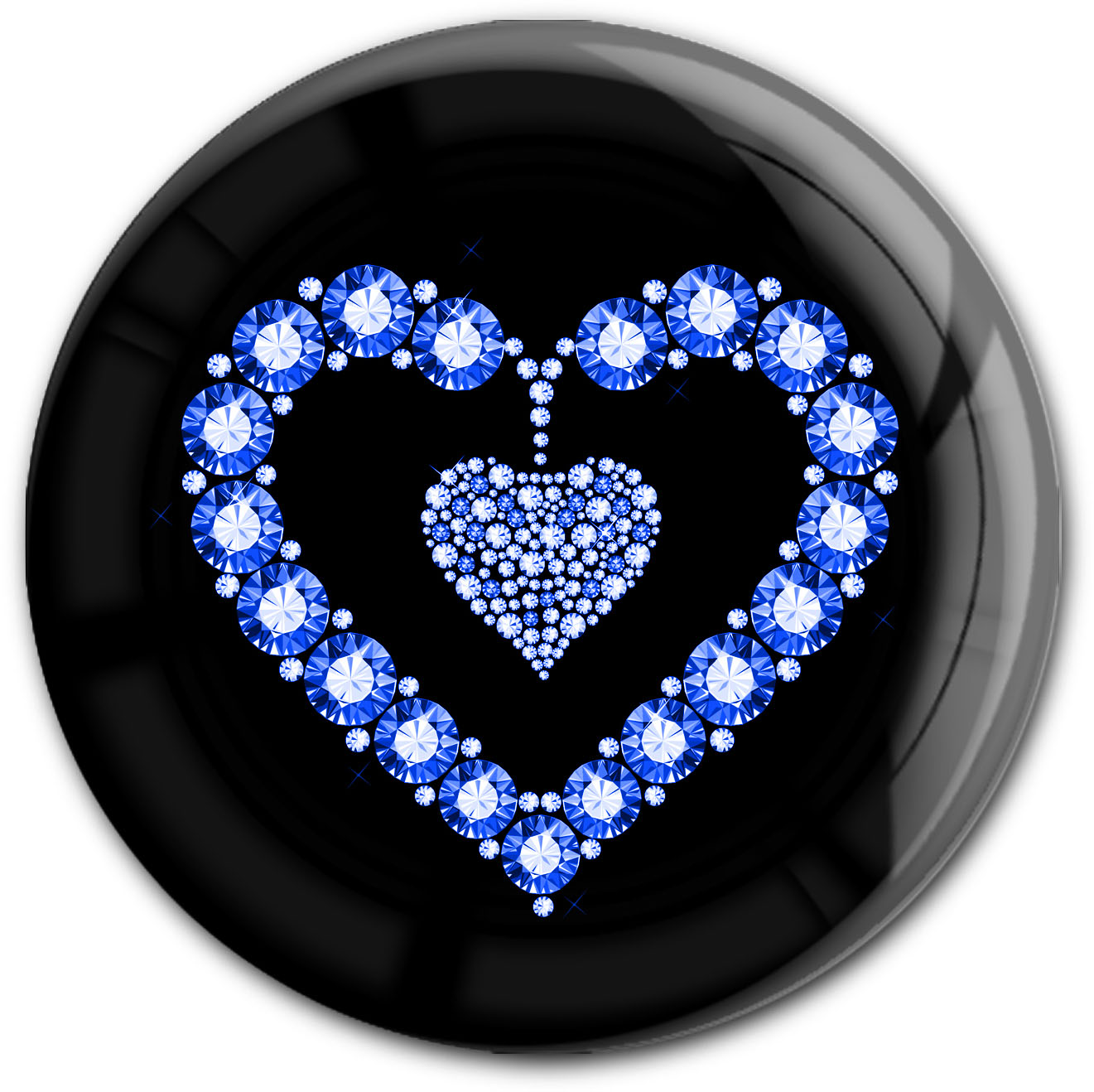 "metALUm Premium Magnet in runder Form ""Blaues Herz"""
