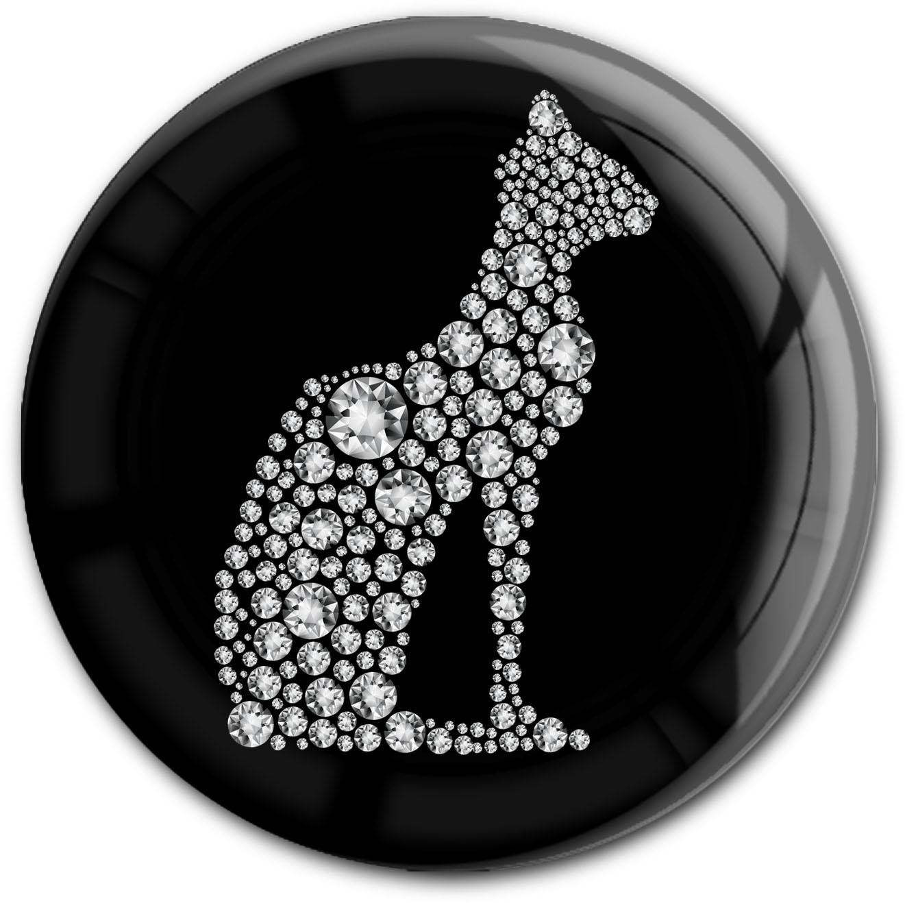 "metALUm Premium Magnet in runder Form ""Katze in Silber"""