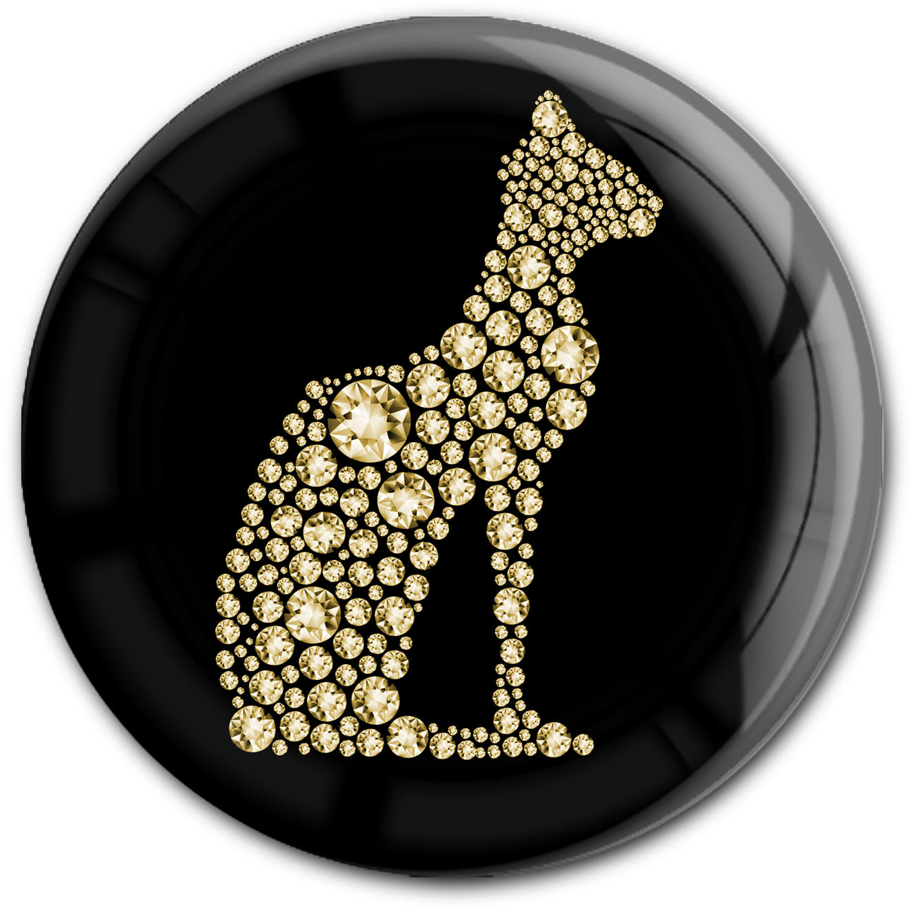 "metALUm Premium Magnet in runder Form ""Katze in Gold"""