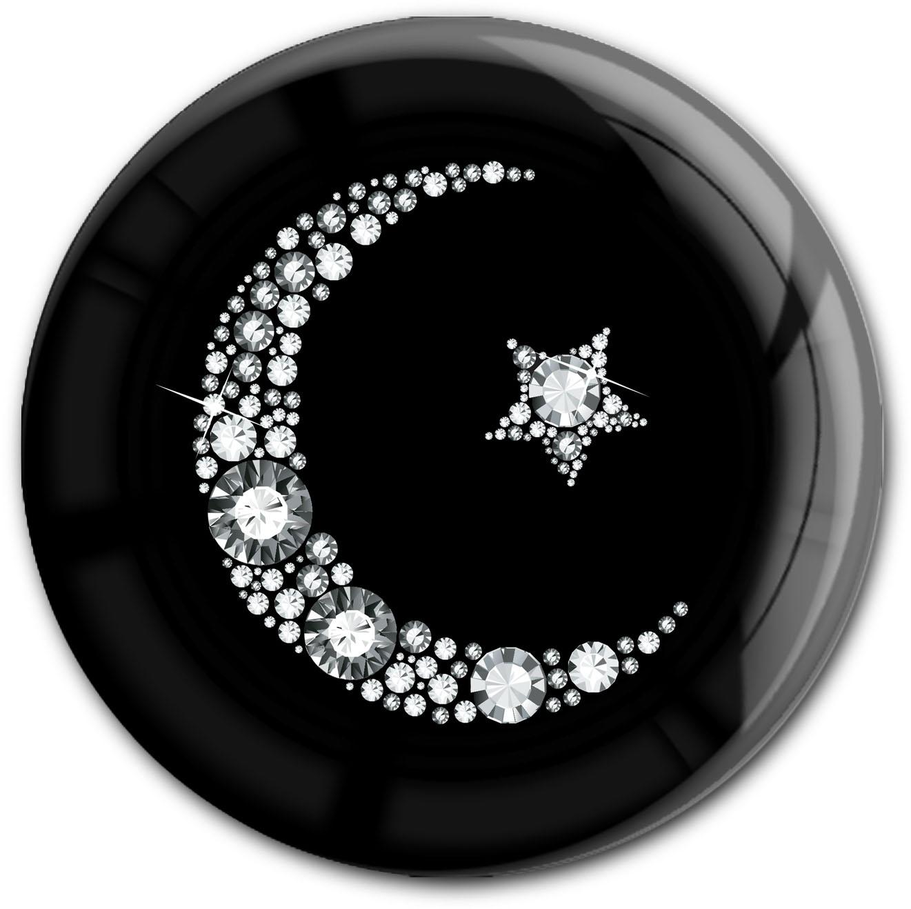 """metALUm Premium Magnet in runder Form """"Islamischer Mond in Silber"""""""