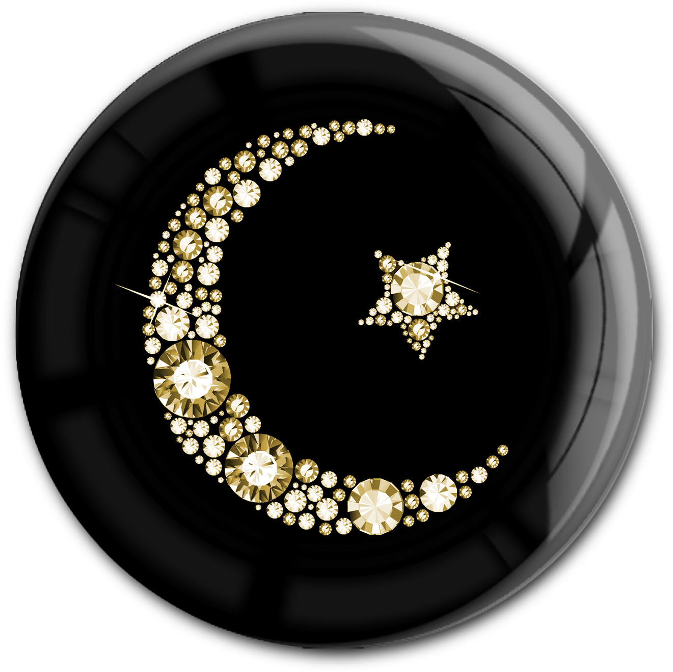 "metALUm Premium Magnet in runder Form ""Islamischer Mond in Gold"""