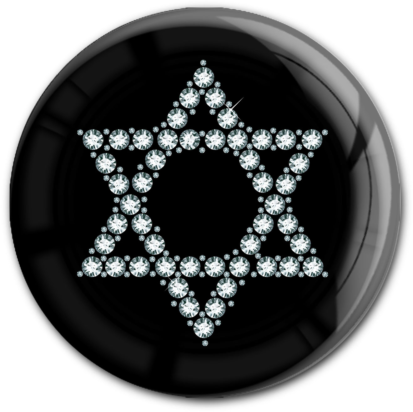 "metALUm Premium Magnet in runder Form ""Davidstern in Silber"""