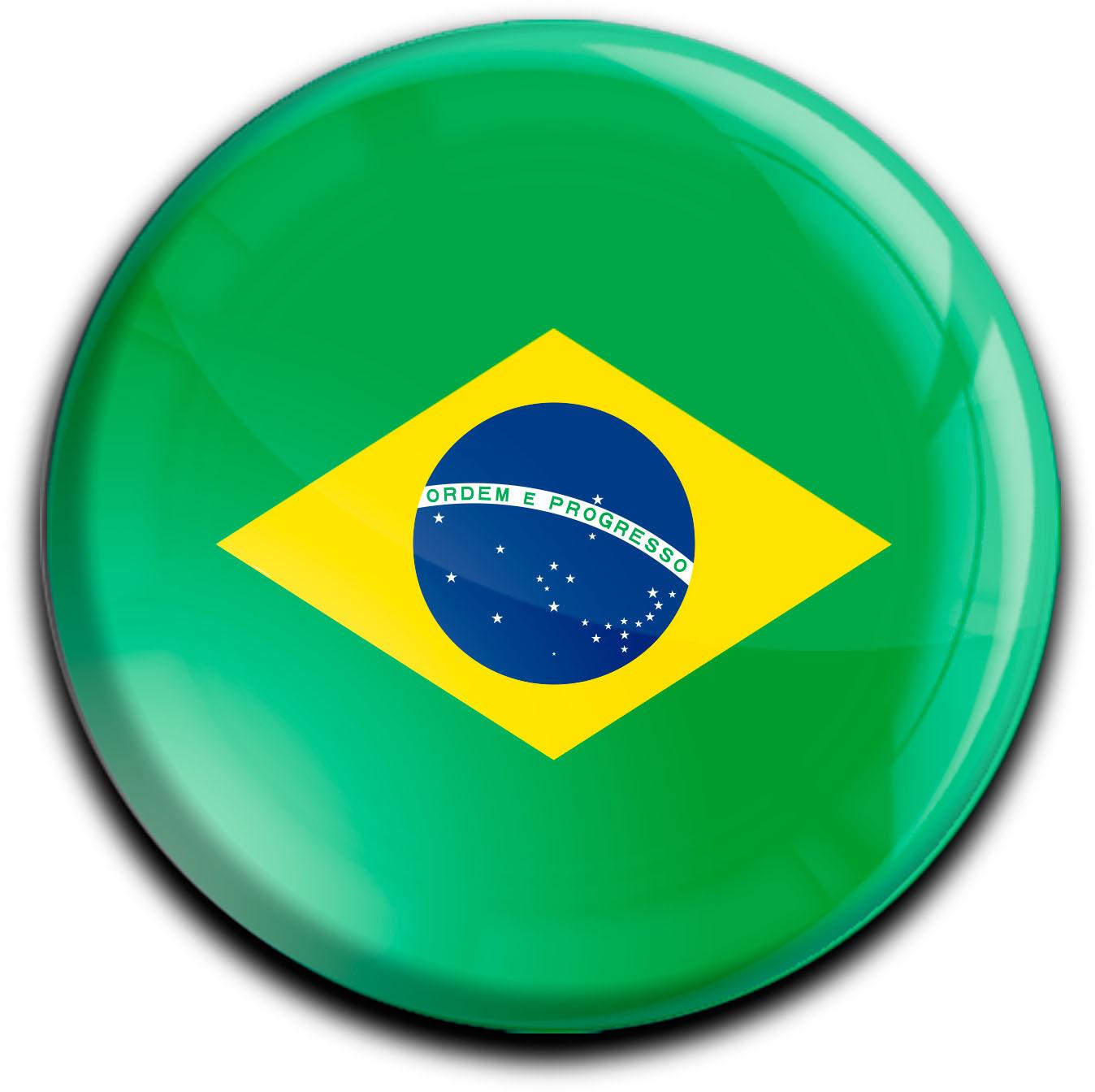"""metALUm Premium Magnete rund """"Flagge Brasilien"""""""