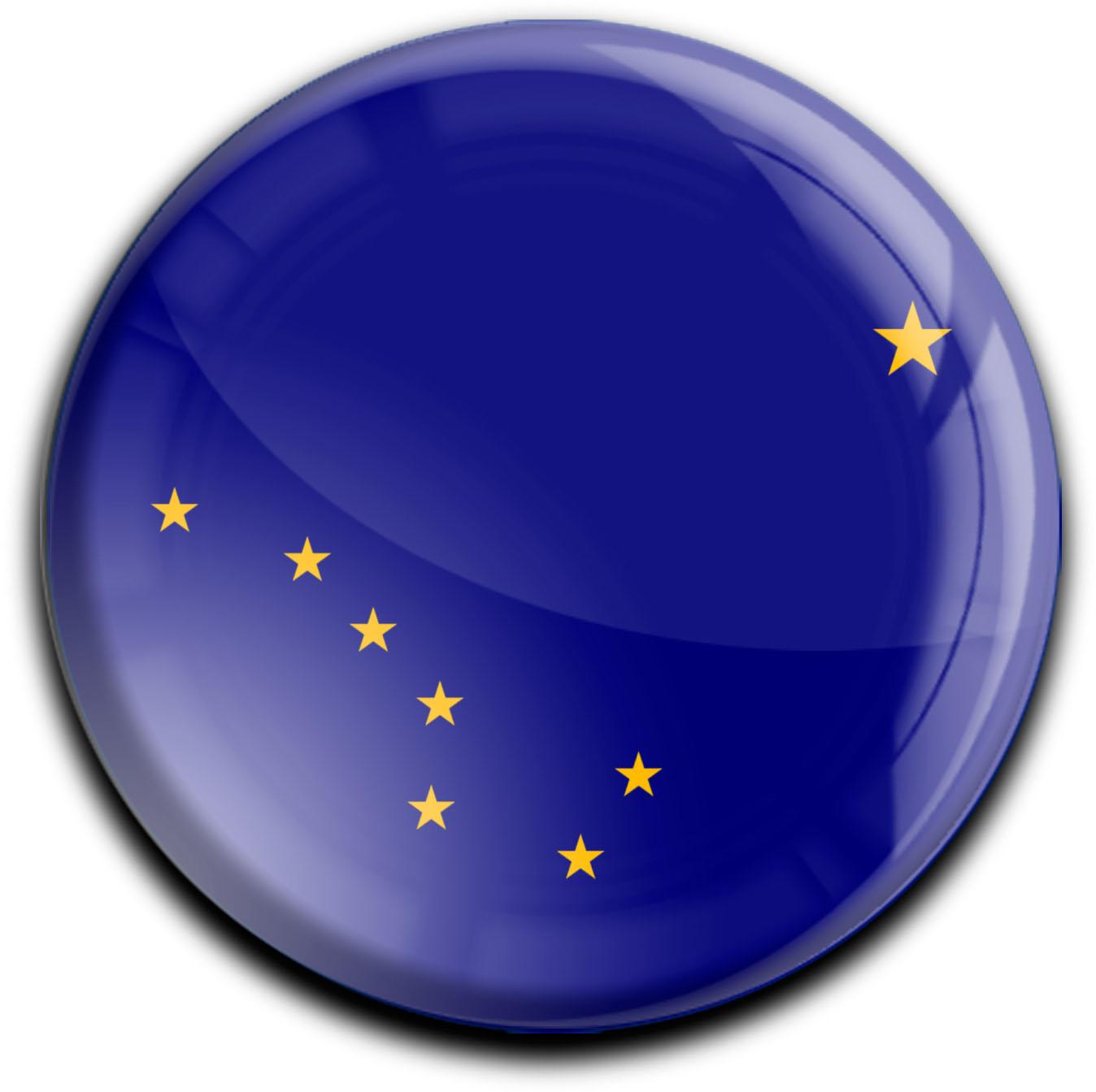 """metALUm Premium Magnete rund """"Flagge Alaska"""""""
