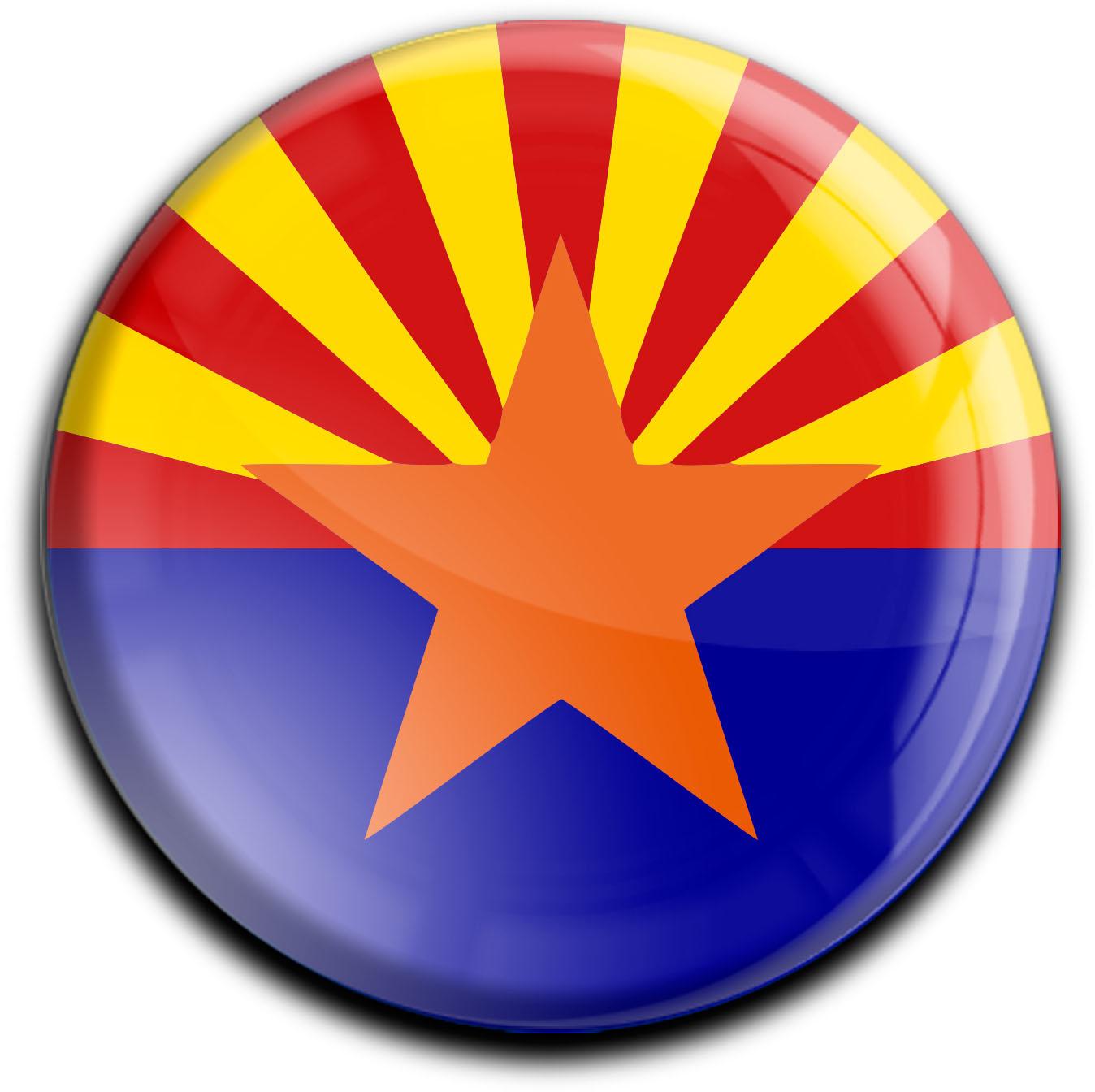 """metALUm Premium Magnete rund """"Flagge Arizona"""""""
