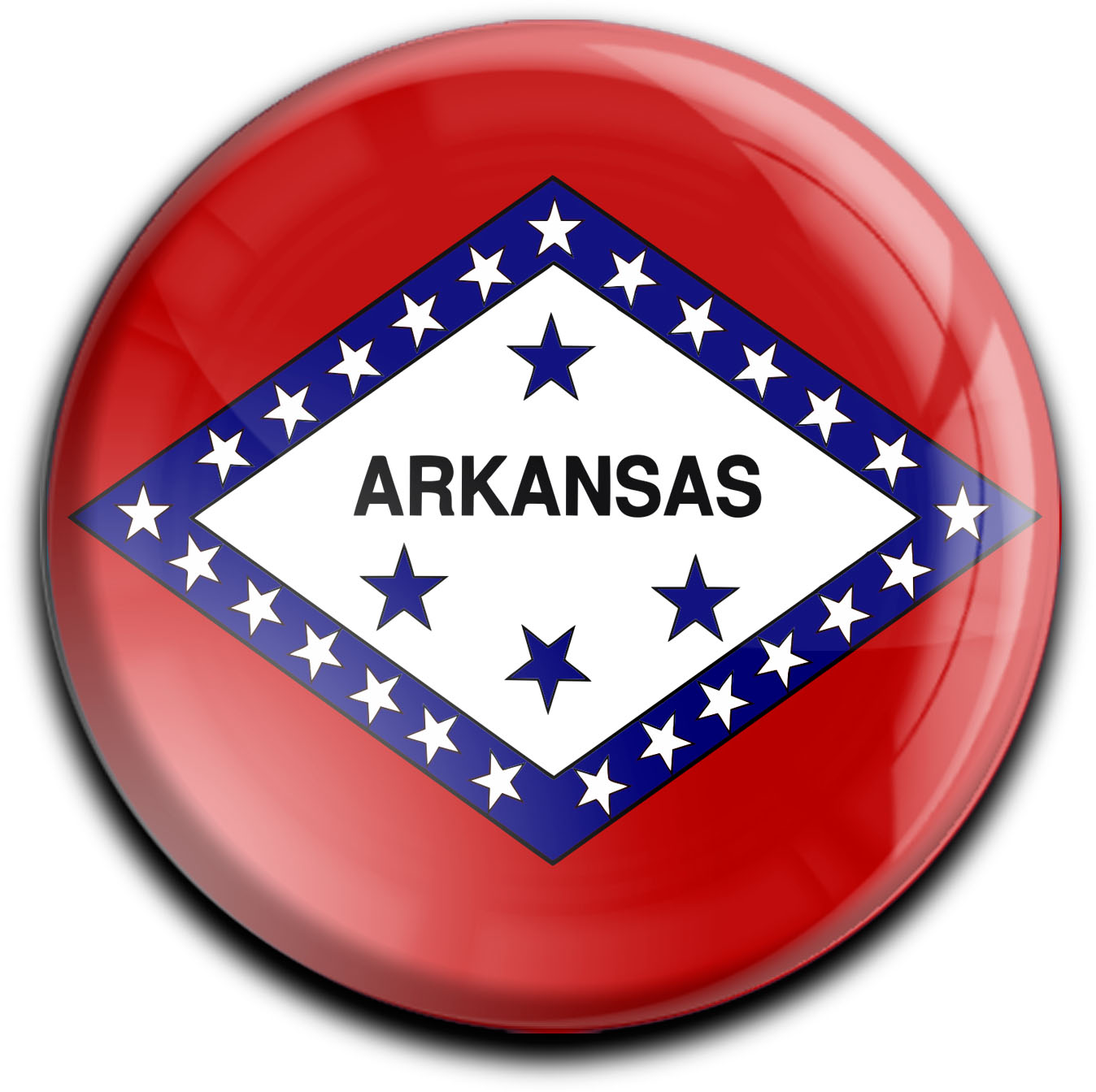"""metALUm Premium Magnete rund """"Flagge Arkansas"""""""