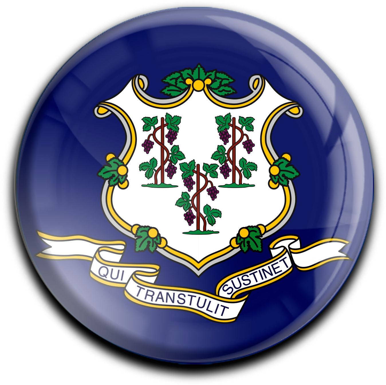 """metALUm Premium Magnete rund """"Flagge Connecticut"""""""