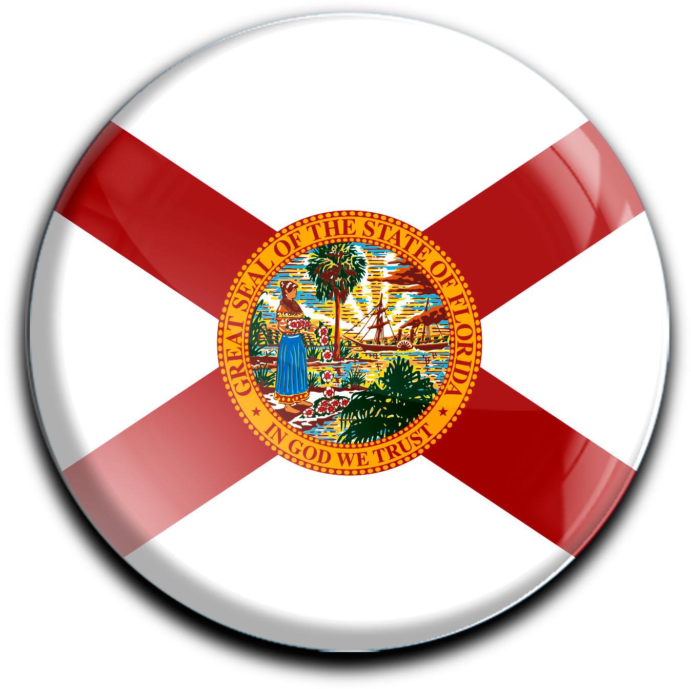 """metALUm Premium Magnete rund """"Flagge Florida"""""""
