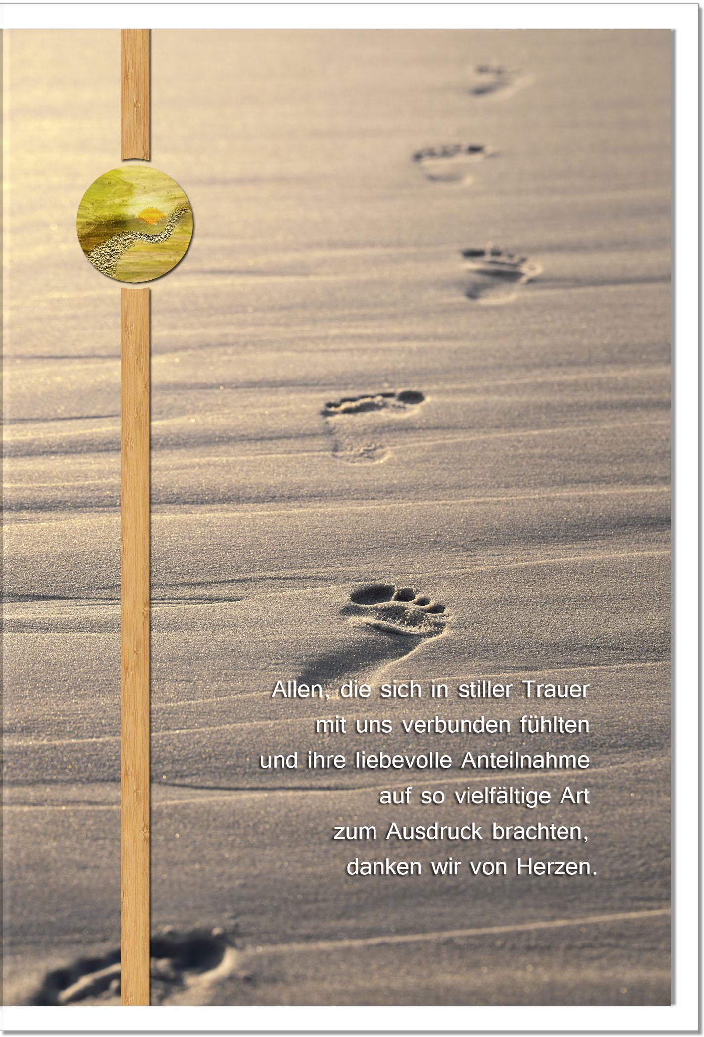 Danksagung Danksagungskarten / Spuren im Sand