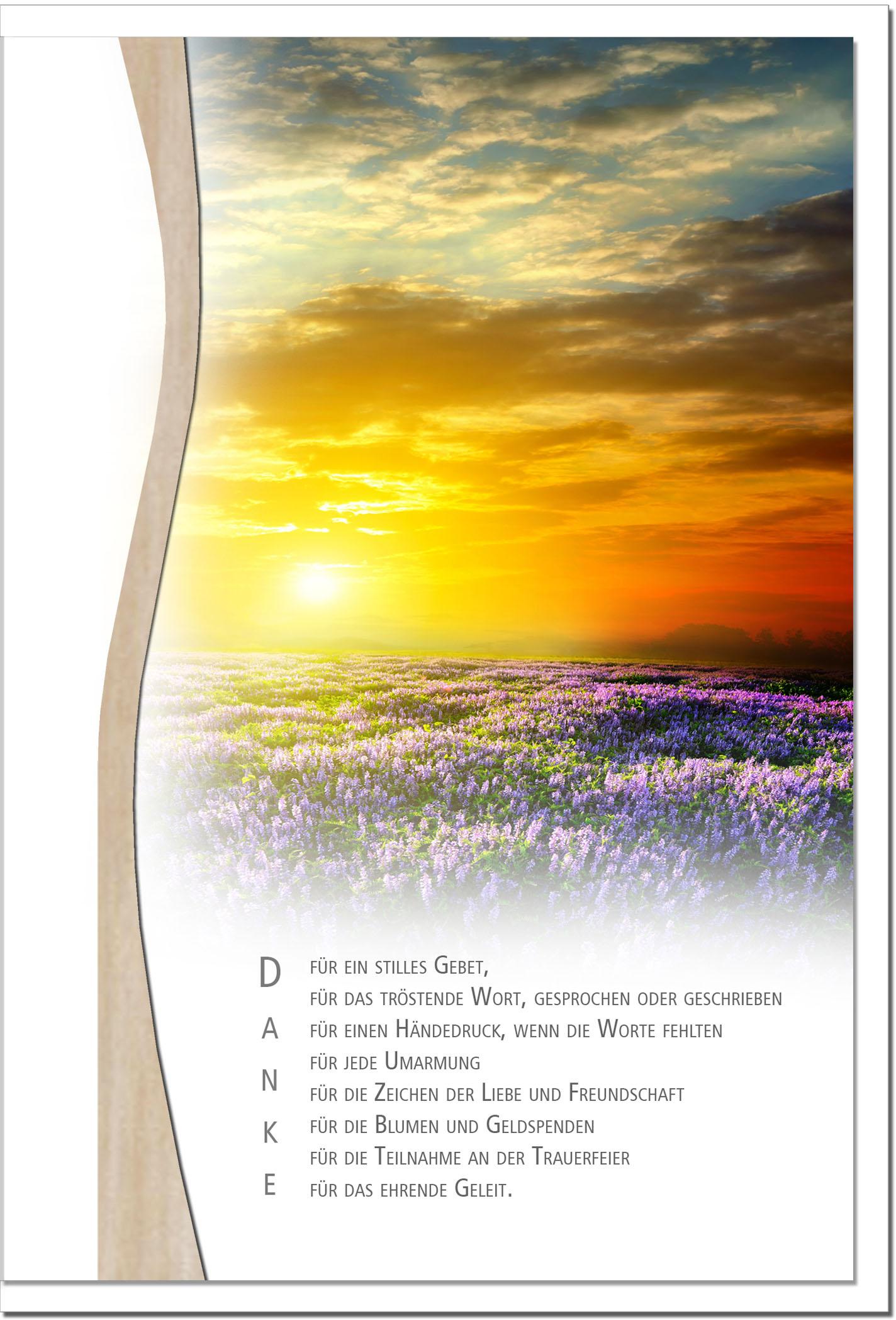 """metALUm Stilvolle Danksagungskarten  """"Sonnenuntergang"""""""