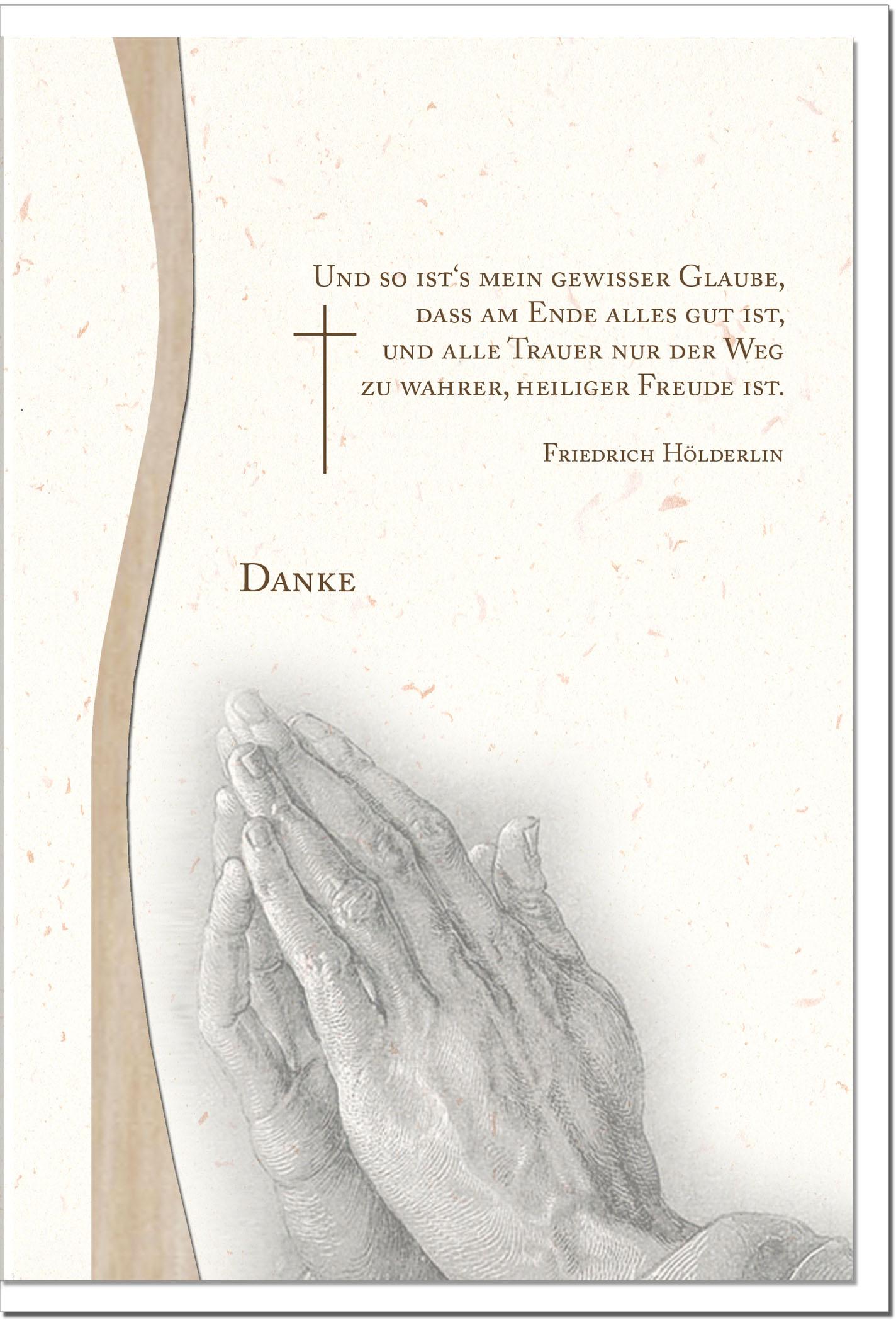 "metALUm Stilvolle Danksagungskarten  ""Betende Hände"""