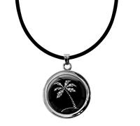"""metALUm Kettenanhänger in runder Form """"Palme in Silber"""""""