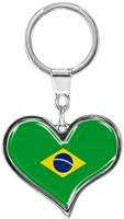 """metALUm Schlüsselanhänger in Herz - Form """"Flagge Brasilien"""""""