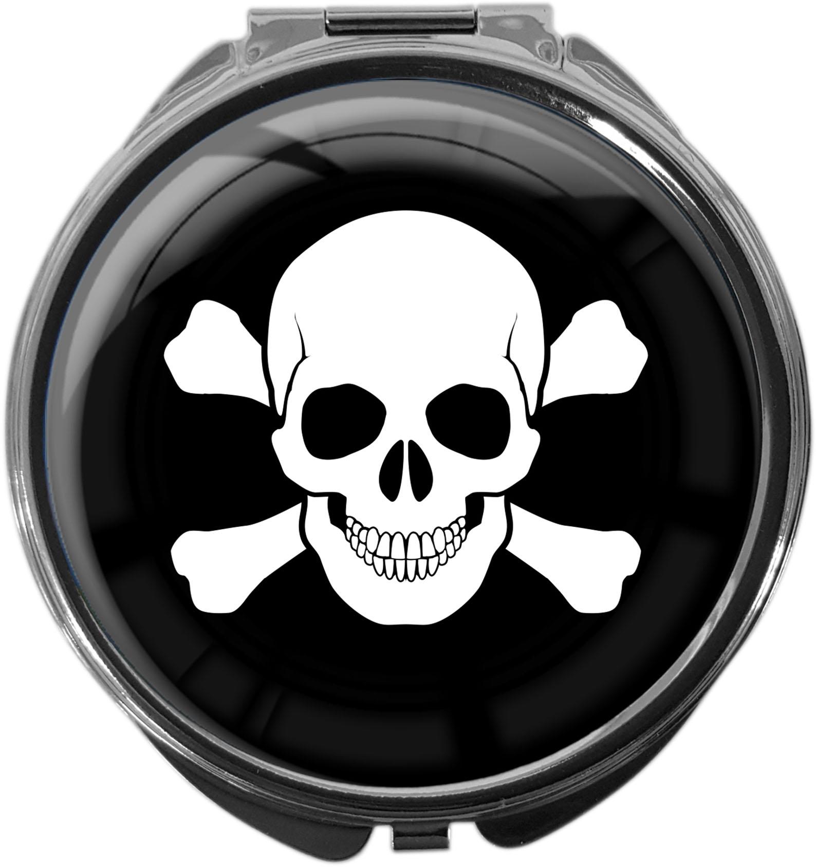 "metALUm Premium Pillendosen in runder Form ""Totenkopf"""