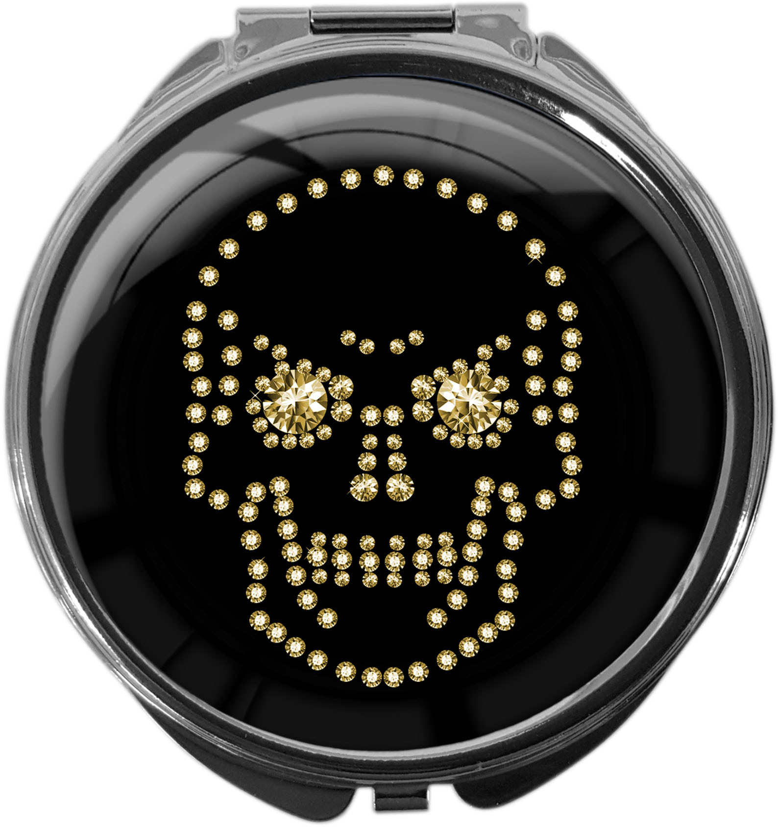 "metALUm Premium Pillendose in runder Form ""Totenkopf in Gold"""