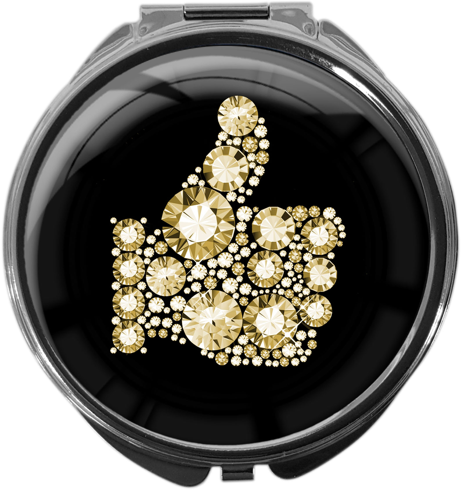 """metALUm Premium Pillendose in runder Form """"Like in Gold"""""""