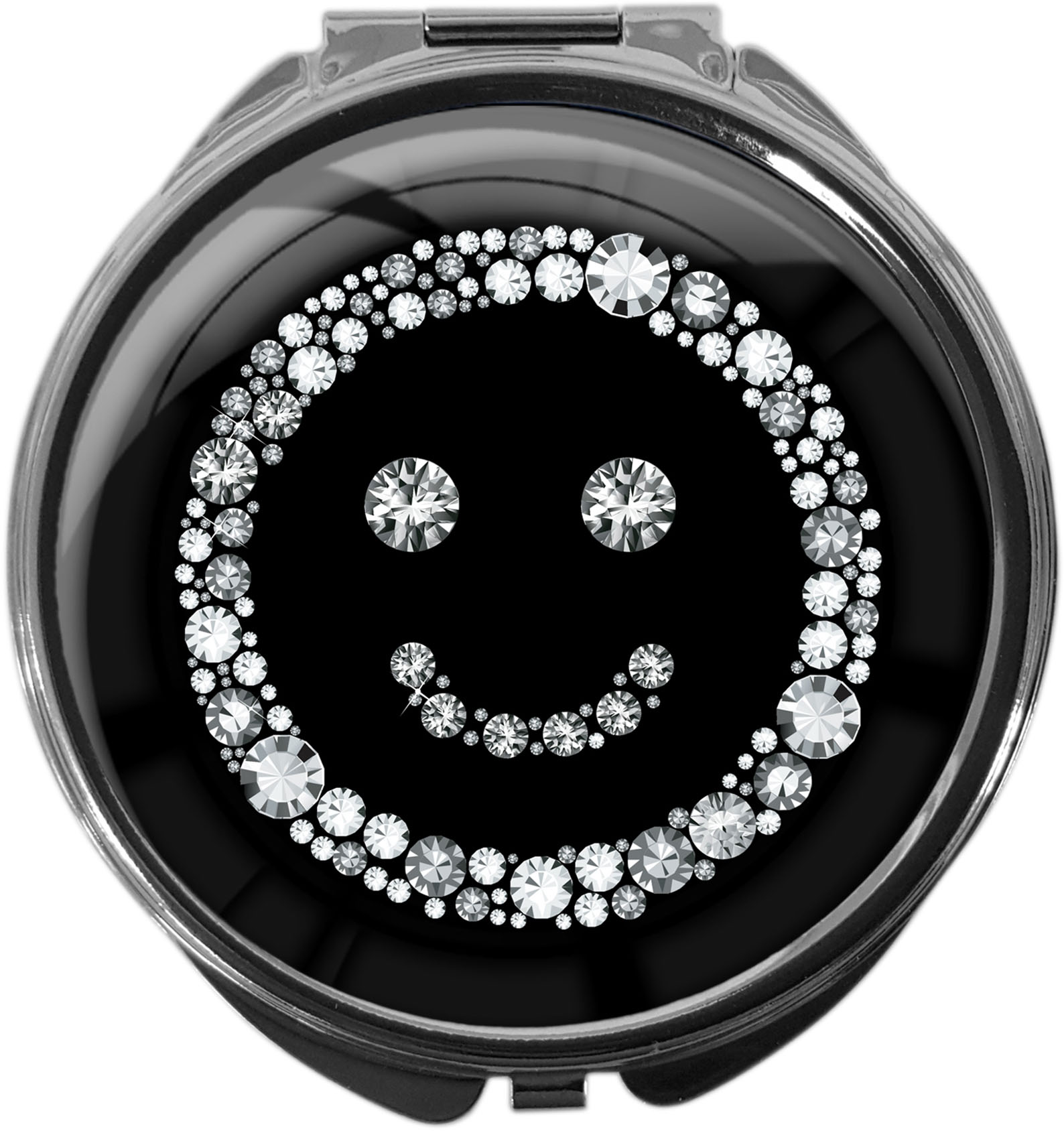 "metALUm Premium Pillendose in runder Form ""Smiley in Silber"""