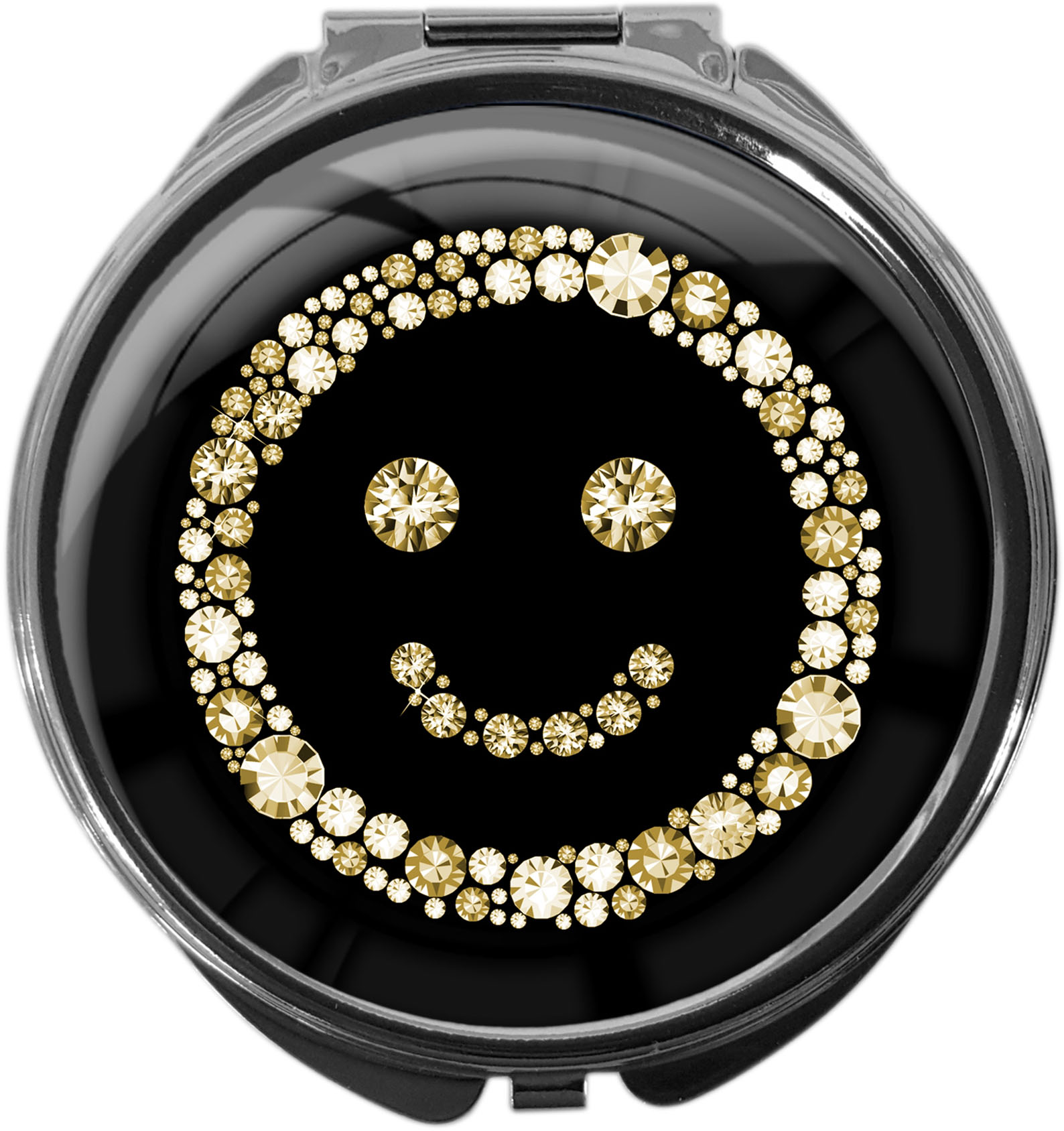 "metALUm Premium Pillendose in runder Form ""Smiley in Gold"""