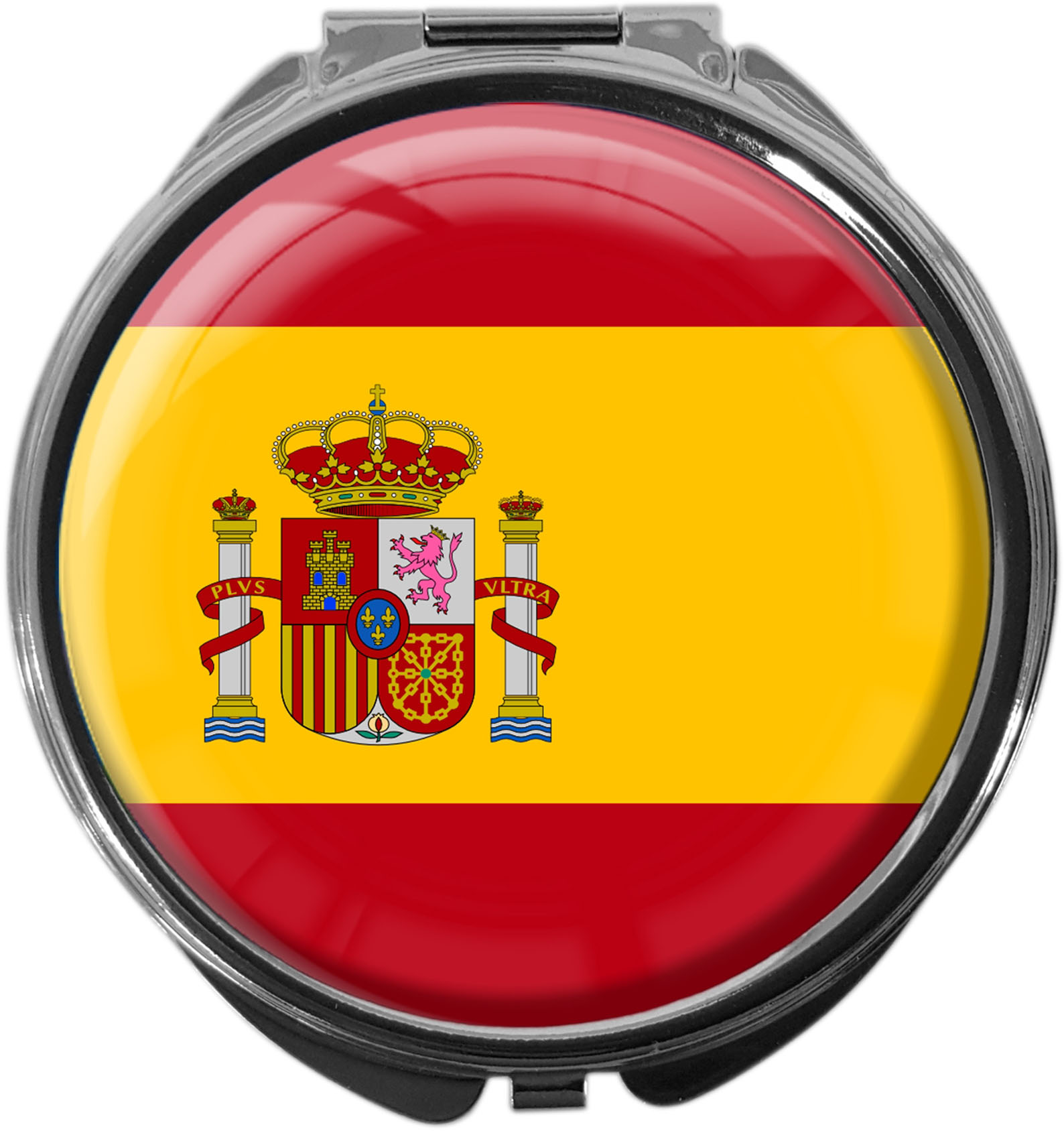 "metALUm Premium Pillendose in runder Form ""Flagge Spanien"""