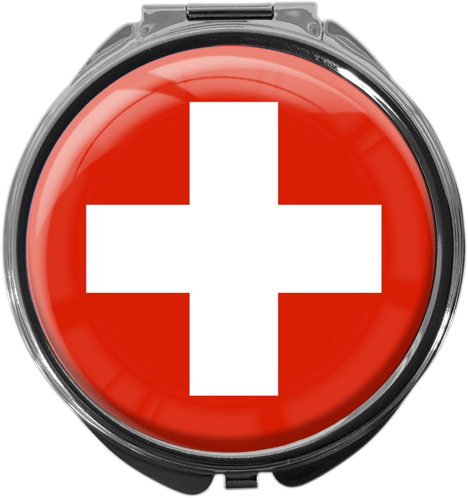 "metALUm Premium Pillendose in runder Form ""Flagge Schweiz"""