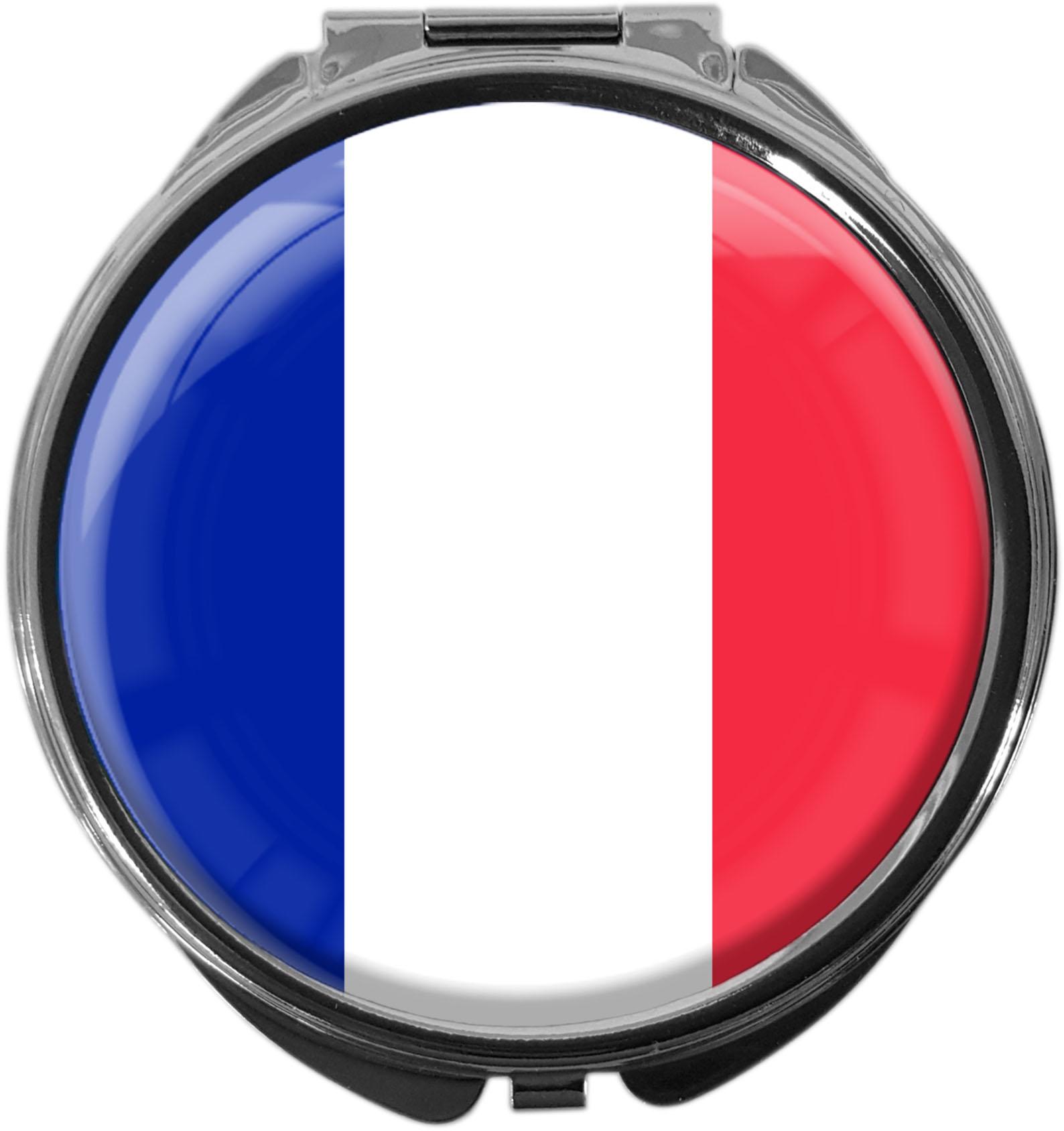 """metALUm Premium Pillendose in runder Form """"Flagge Frankreich"""""""