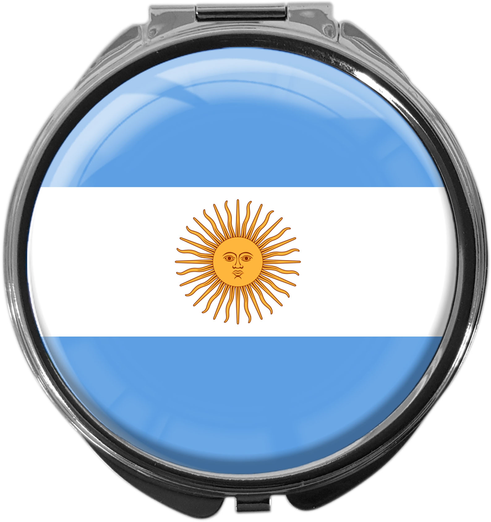 """metALUm Premium Pillendose in runder Form """"Flagge Argentinien"""""""