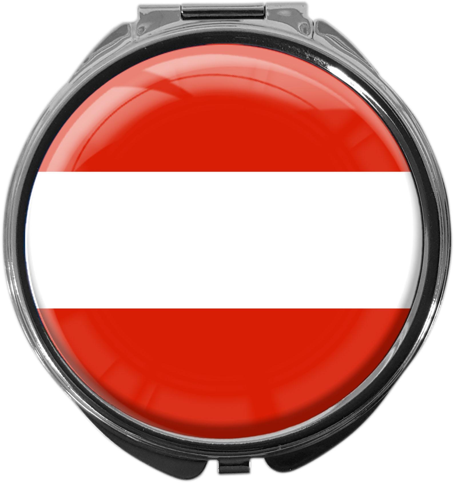 """metALUm Premium Pillendose in runder Form """"Flagge Österreich"""""""