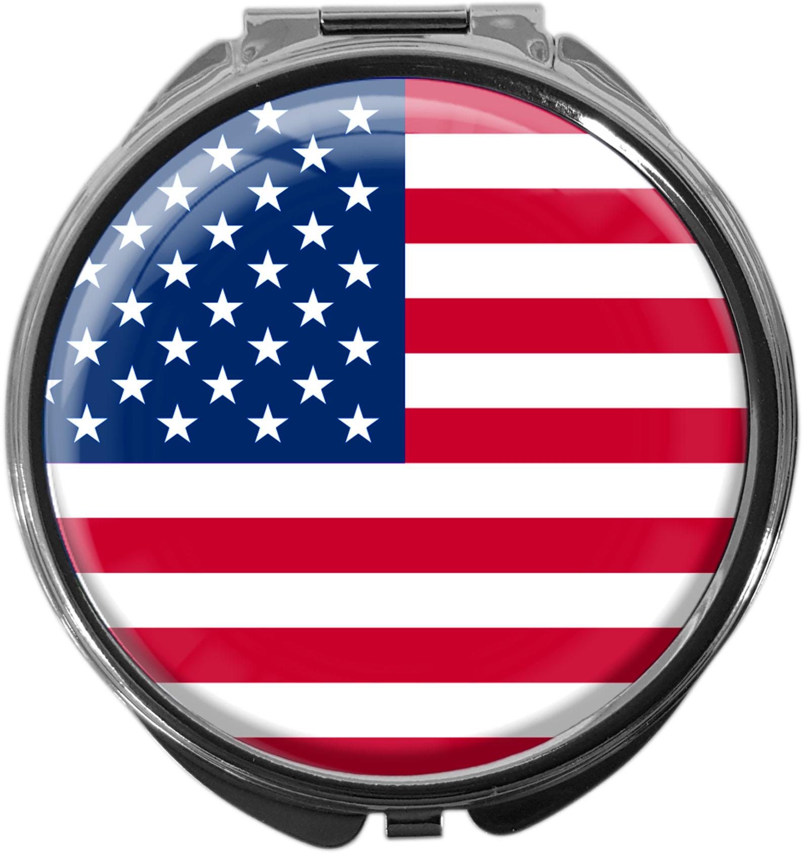 """metALUm Premium Pillendose in runder Form """"Flagge USA"""""""
