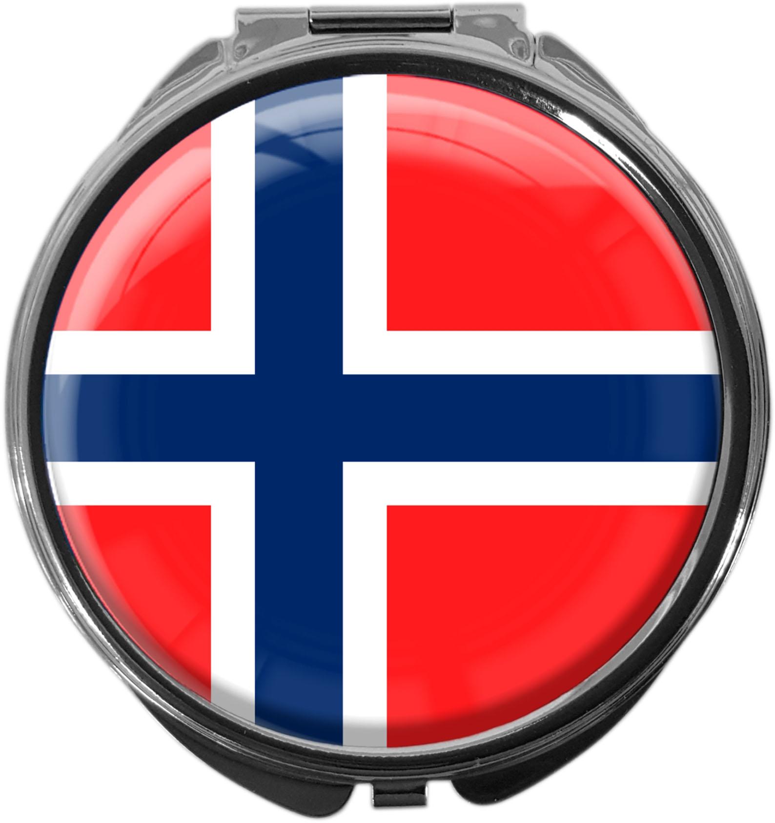 """metALUm Premium Pillendose in runder Form """"Flagge Norwegen"""""""