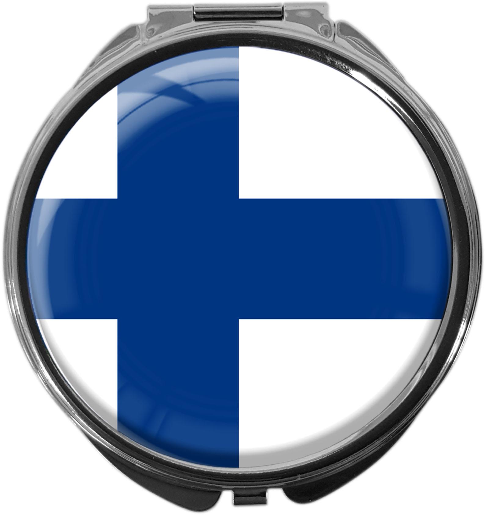 """metALUm Premium Pillendose in runder Form """"Flagge Finnland"""""""