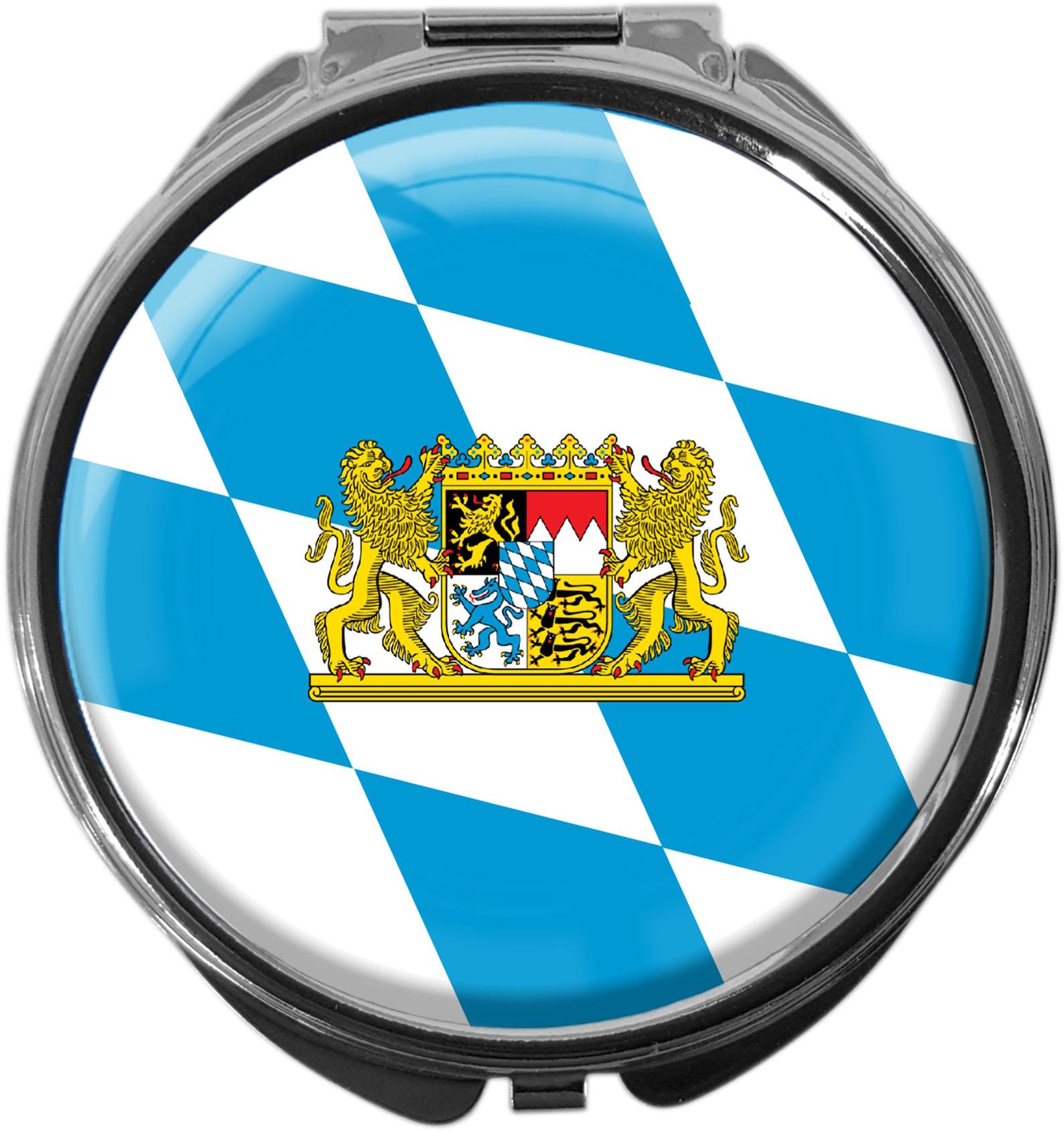 "metALUm Premium Pillendose in runder Form ""Flagge Bayern"""