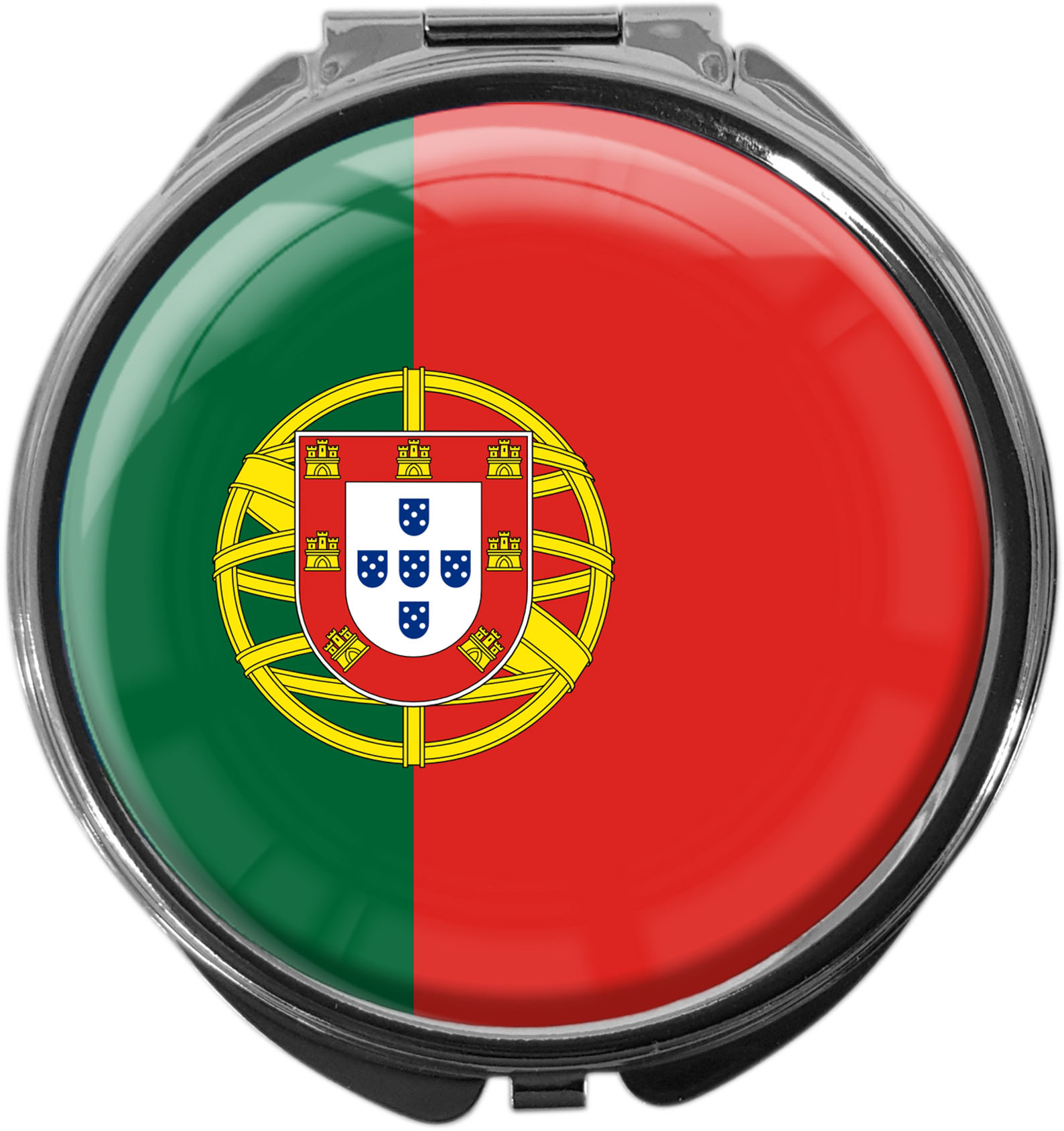 "metALUm Premium Pillendose in runder Form ""Flagge Portugal"""