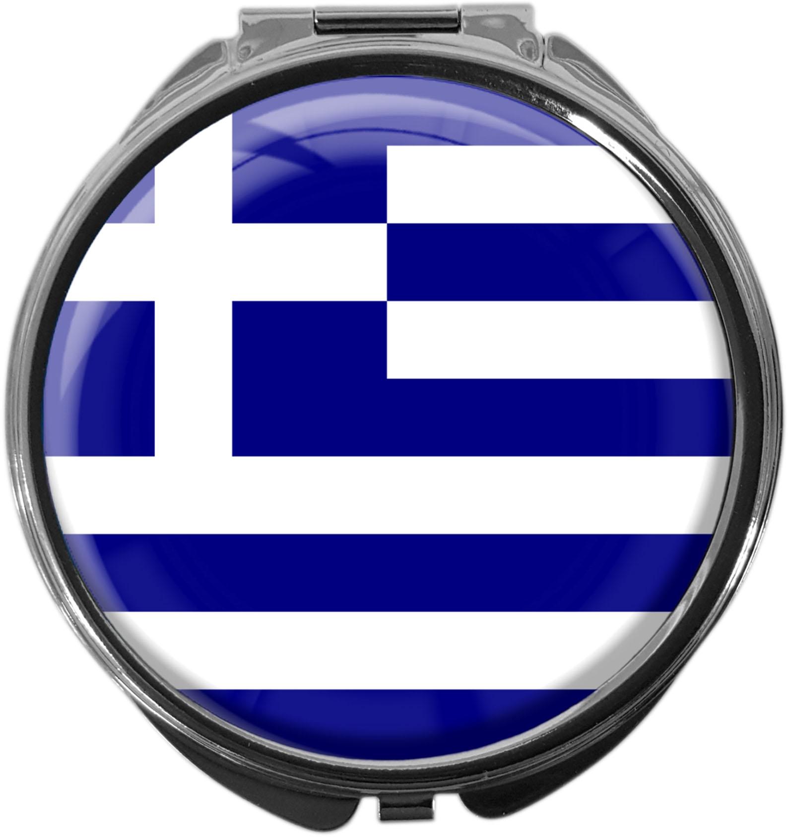 "metALUm Premium Pillendose in runder Form ""Flagge Griechenland"""