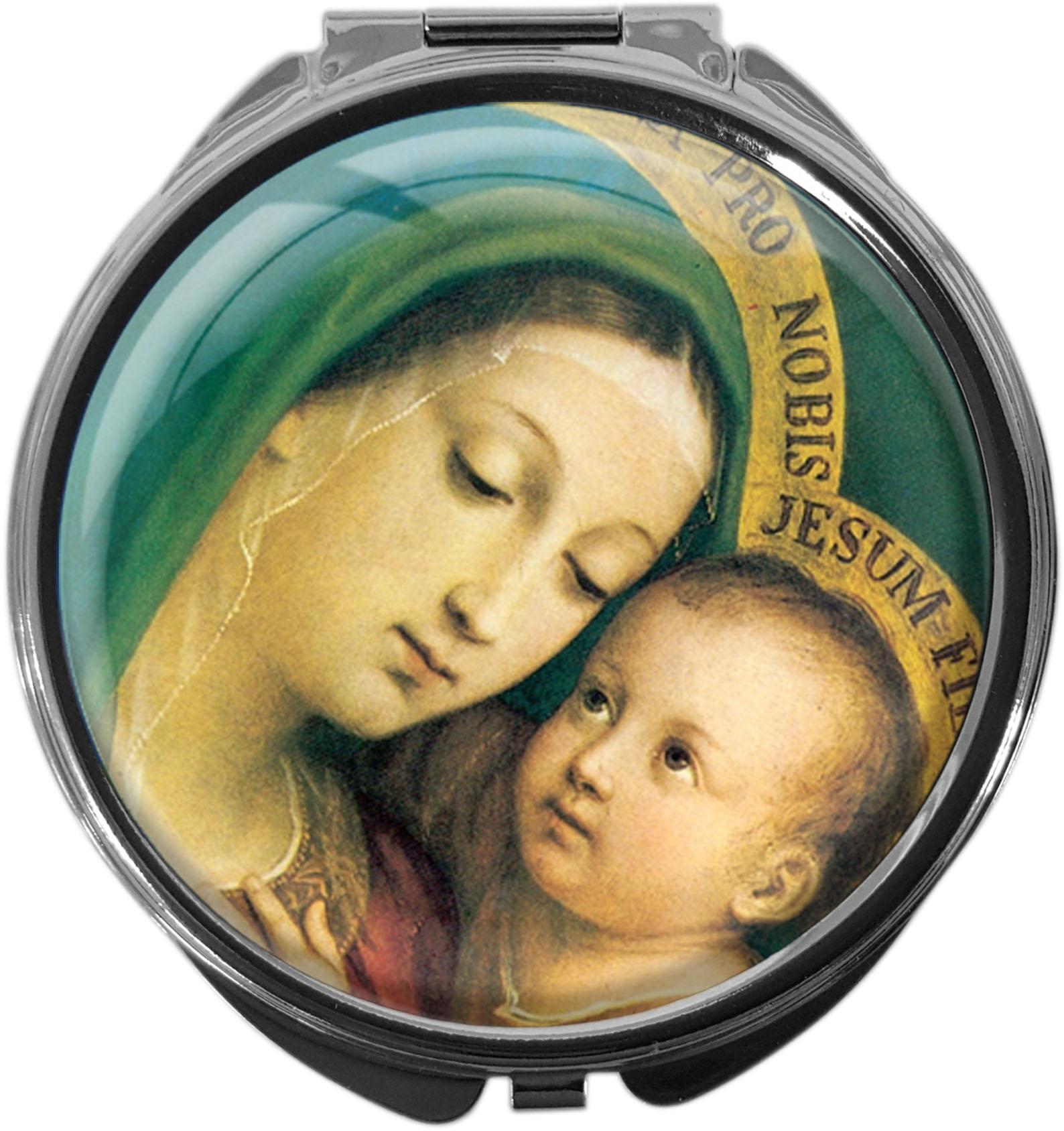 """metALUm Premium Pillendosen runder Form """"Jungfrau Maria mit Kind"""""""