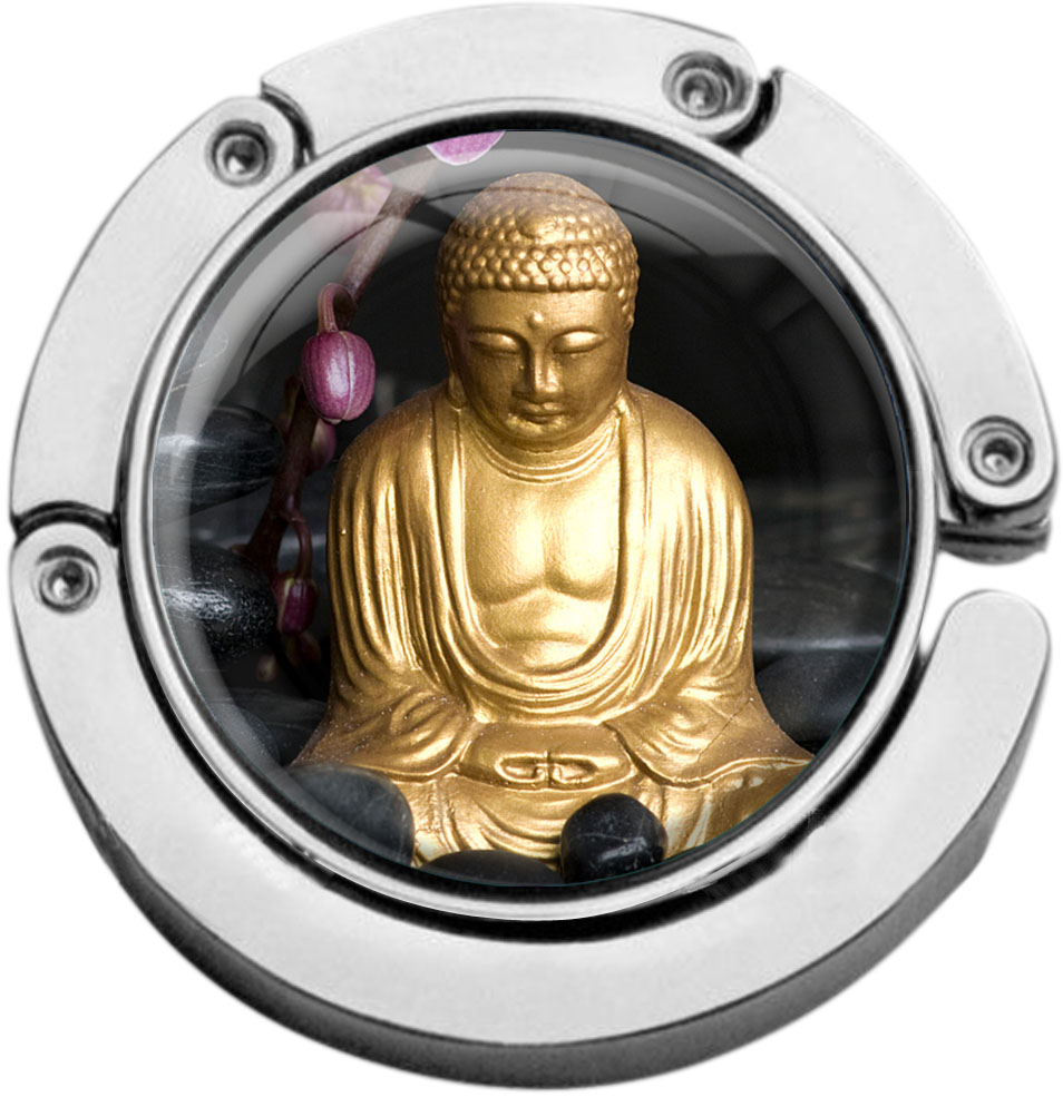 """metALUm Taschenaufhänger in runder Form """"Buddha"""""""