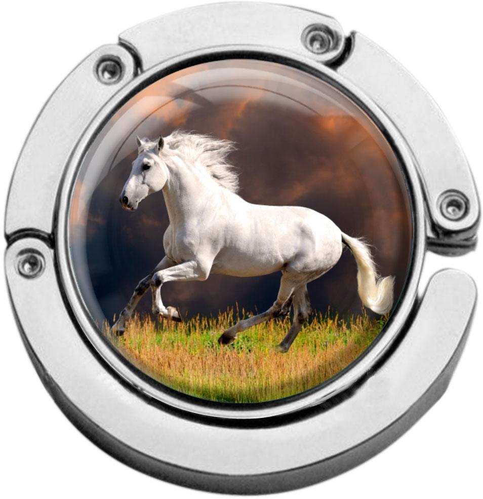 """metALUm Taschenaufhänger in runder Form """"Weißes Pferd"""""""