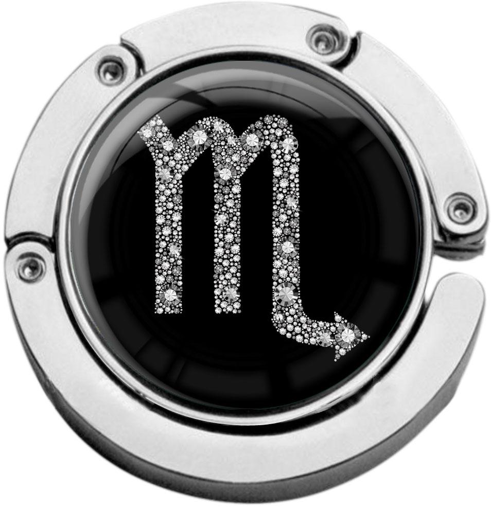 """metALUm Taschenaufhänger in runder Form """"Sternzeichen Skorpion in Silber"""""""