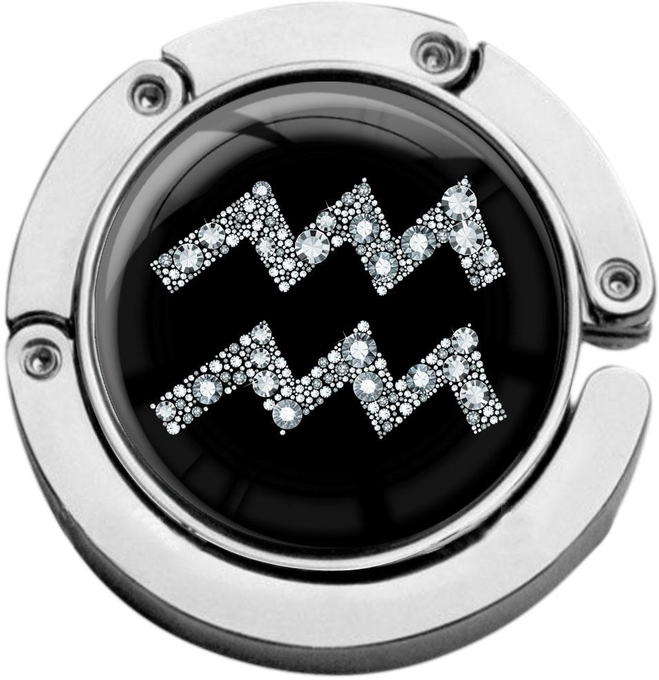 """metALUm Taschenaufhänger in runder Form """"Sternzeichen Wassermann in Silber"""""""