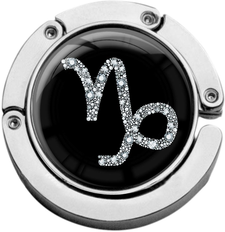 """metALUm Taschenaufhänger in runder Form """"Sternzeichen Steinbock in Silber"""""""