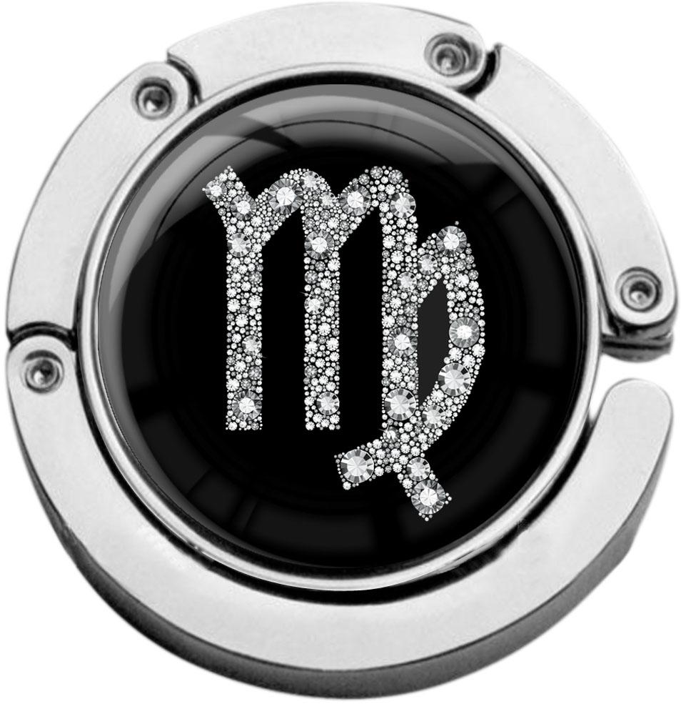 """metALUm Taschenaufhänger in runder Form """"Sternzeichen Jungfrau in Silber"""""""