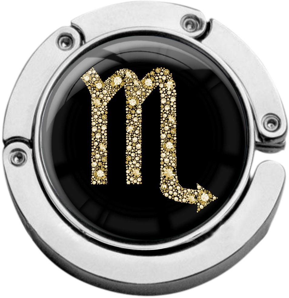 """metALUm Taschenaufhänger in runder Form """"Sternzeichen Skorpion in Gold"""""""