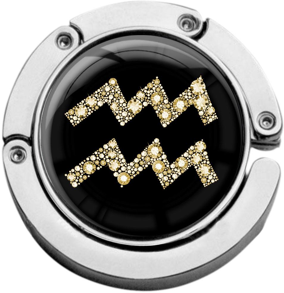 """metALUm Taschenaufhänger in runder Form """"Sternzeichen Wassermann in Gold"""""""