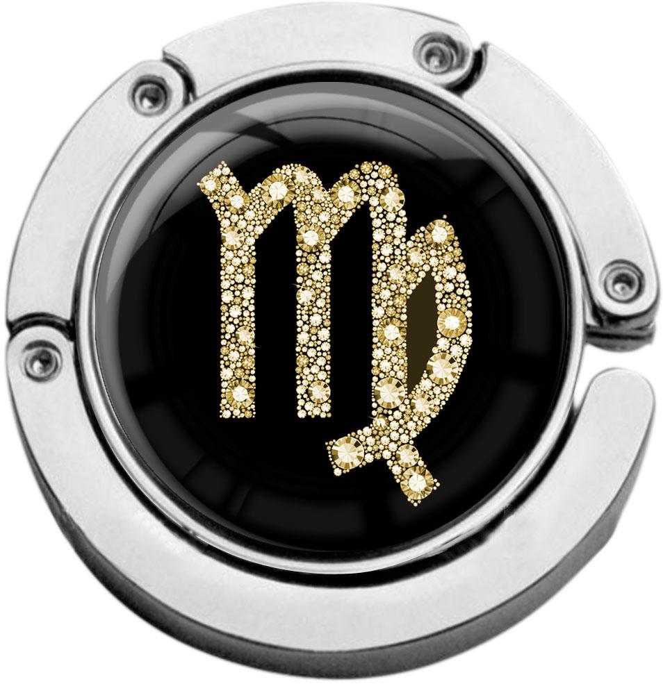 """metALUm Taschenaufhänger in runder Form """"Sternzeichen Jungfrau in Gold"""""""