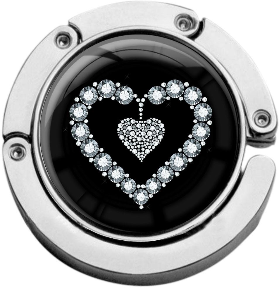 """metALUm Taschenaufhänger in runder Form """"Silbernes Herz"""""""