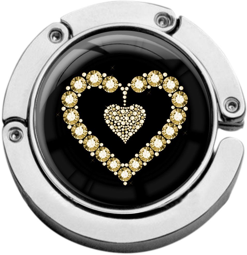 """metALUm Taschenaufhänger in runder Form """"Goldenes Herz"""""""