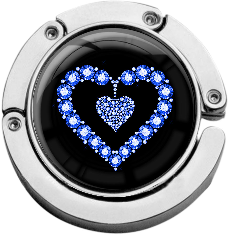 """metALUm Taschenaufhänger in runder Form """"Blaues Herz"""""""