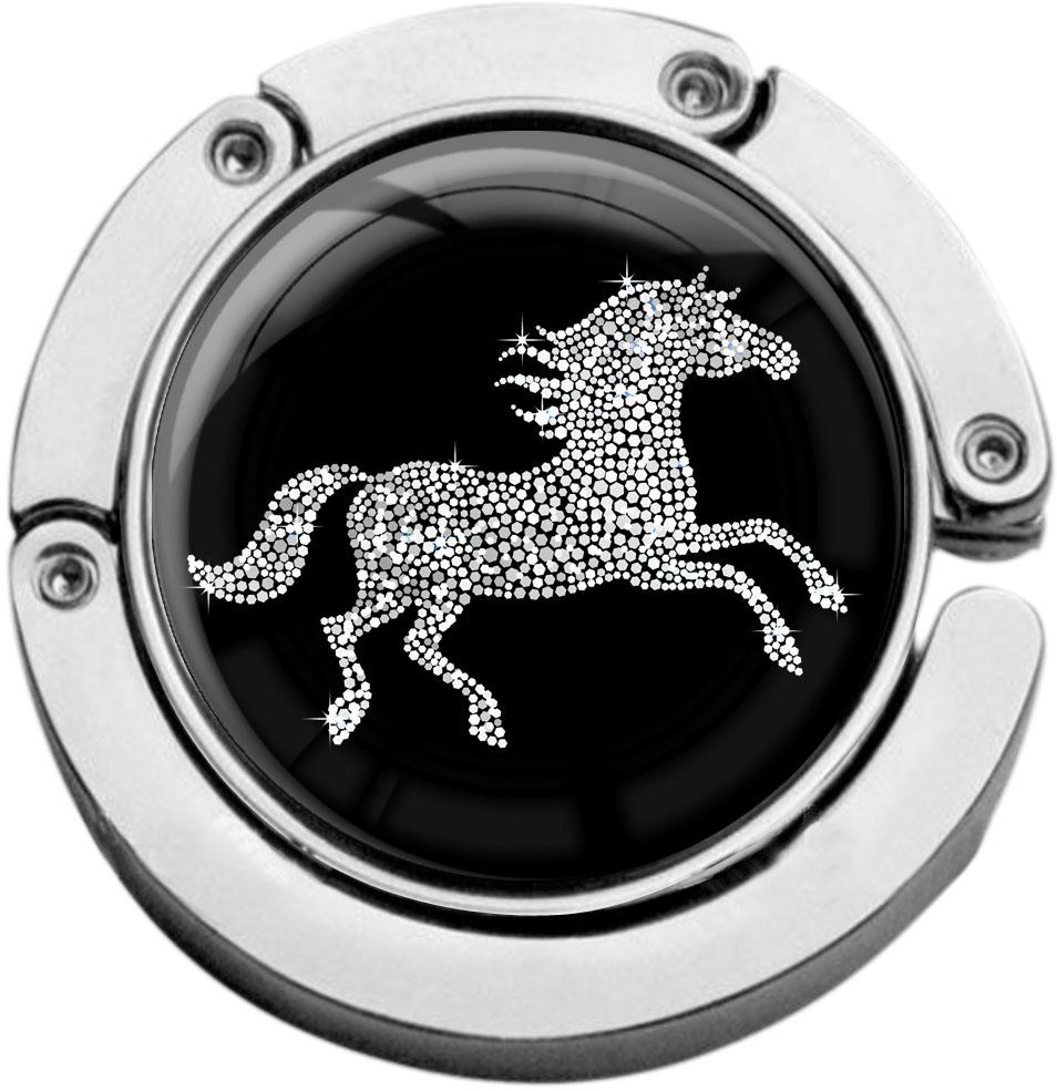 """metALUm Taschenaufhänger in runder Form """"Pferd in Silber"""""""